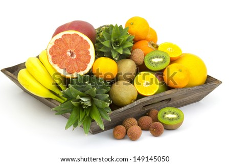 fresh fruit on a wooden tray - stock photo