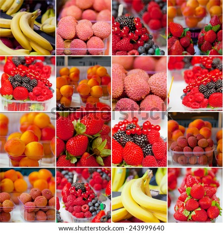 Fresh fruit on sale at marketplace, collage - stock photo