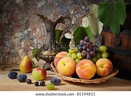 Fresh fruit on the table - stock photo