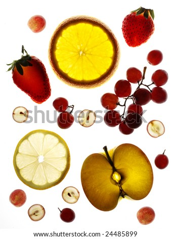 Fresh fruit on white background. Very good quality and colors. - stock photo