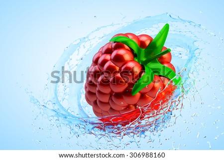 Fresh fruit refreshing concept, raspberry in clean water splash - stock photo