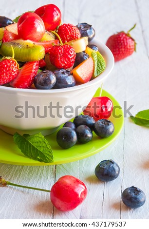 fresh fruit salad in a bowl