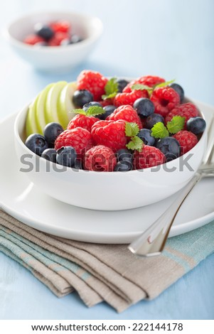 fresh fruit salad with raspberry blueberry apple  - stock photo
