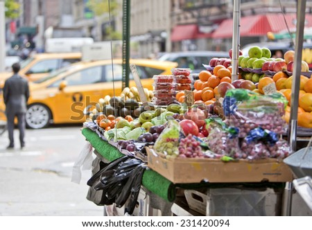 Fresh fruit stall on the streets of New York - stock photo