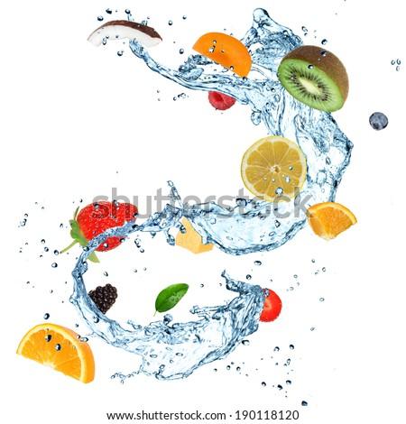 Fresh fruit with water splash - stock photo