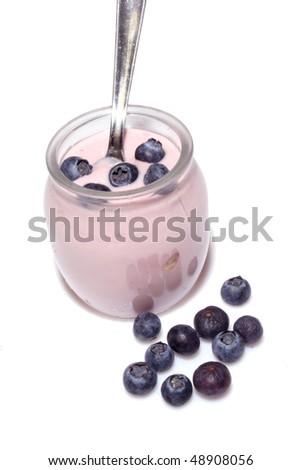 Fresh fruit yogurt with blueberries - stock photo