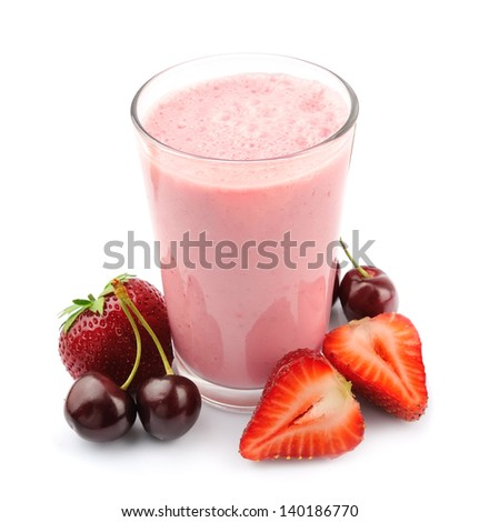 Fresh fruits and smoothies on white - stock photo