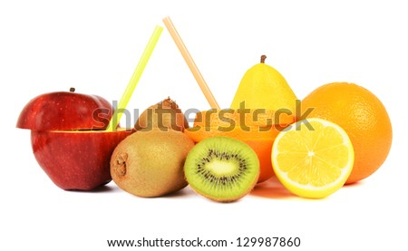 Fresh fruits and straws