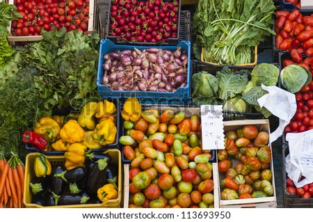 Fresh fruits and vegetable at a market