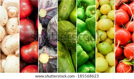 Fresh Fruits and vegetable rainbow made of summer and spring harvest