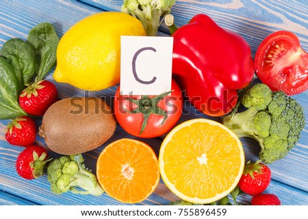 Fresh fruits vegetables sources vitamin c stock photo edit now fresh fruits and vegetables as sources vitamin c minerals and dietary fiber concept of workwithnaturefo