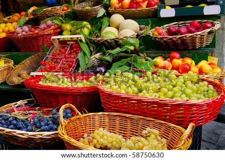fresh fruits and vegetables at a farmer's market - stock photo