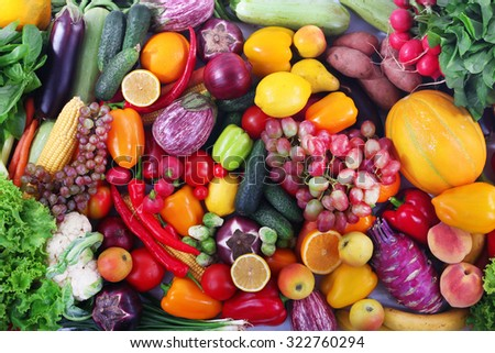 Fresh fruits and vegetables closeup - stock photo