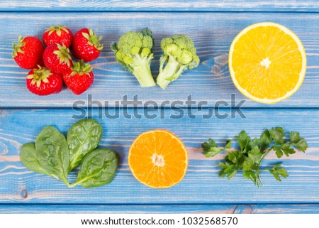 Fresh fruits vegetables containing vitamin c stock photo royalty fresh fruits and vegetables containing vitamin c and fiber concept of healthy food and strengthening workwithnaturefo