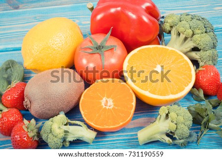 Fresh fruits vegetables containing vitamin c stock photo royalty fresh fruits and vegetables containing vitamin c natural minerals and dietary fiber healthy lifestyle workwithnaturefo