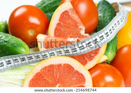 Fresh fruits and vegetables. Diet concept  - stock photo