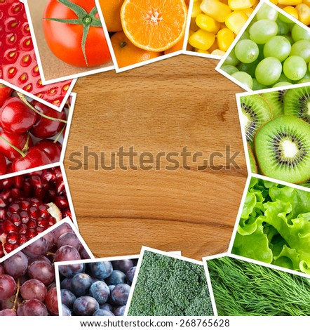 Fresh fruits and vegetables. Food concept - stock photo