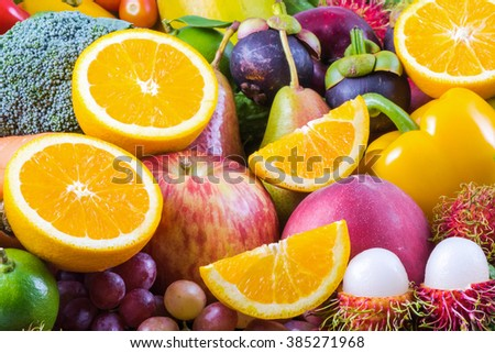 Fresh Fruits and vegetables for healthy lifestyle - stock photo