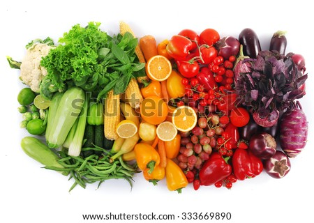 Fresh fruits and vegetables isolated on white - stock photo