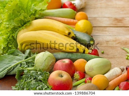 Fresh fruits and vegetables - organic food (healthy food) - stock photo