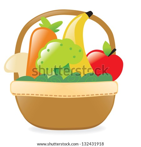 Fresh fruits and veggies in a basket - Jpeg