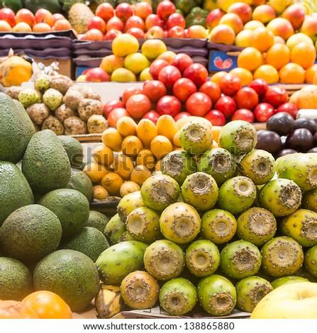 Fresh fruits at a market - stock photo
