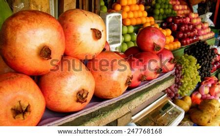 Fresh fruits at local market in Sri Lanka - stock photo
