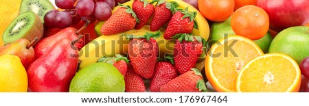 fresh fruits background - stock photo