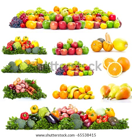 Fresh fruits: banana, orange, apple, grape, peach, lemon, lime. Isolated over white background - stock photo