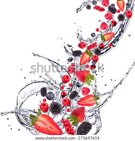 Fresh fruits, berries falling in water splash, isolated on white background - stock photo