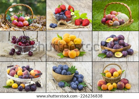 fresh fruits - collage - stock photo
