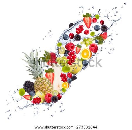 Fresh fruits falling in water splash, isolated on white background - stock photo