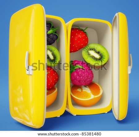 fresh fruits in a refrigerator on a blue background