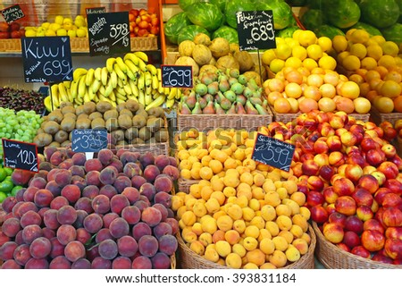 Fresh Fruits in Baskets at Farmers Market - stock photo