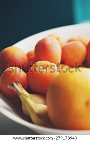 Fresh Fruits In Bowl - stock photo