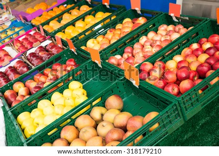 Fresh Fruits In Box Displayed At Market
