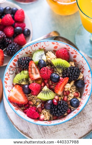 fresh fruits in breakfast bowl and honey