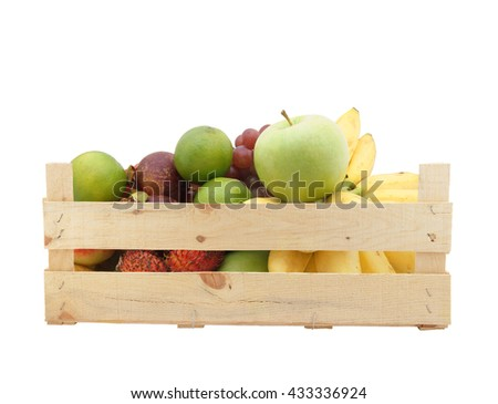 Fresh fruits in wooden box isolated on white background