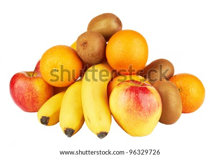 Fresh fruits isolated on a white . - stock photo