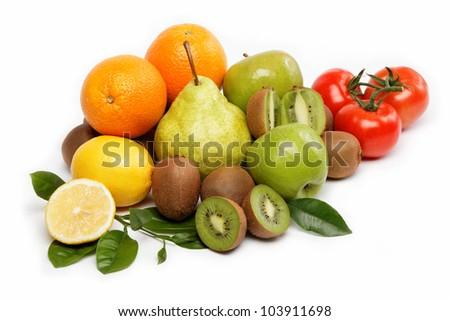 Fresh fruits isolated on a white background. - stock photo
