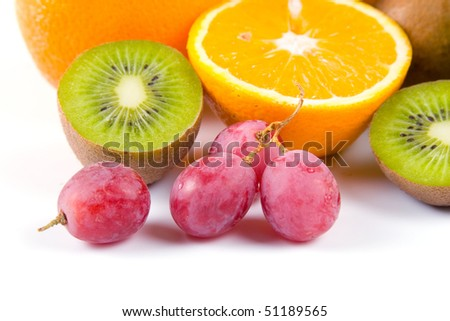 Fresh fruits isolated on a white background