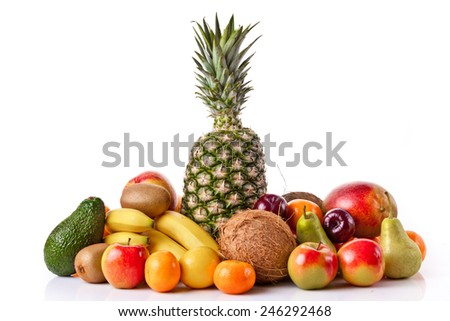 Fresh fruits isolated on a white . Set of different fresh fruits - stock photo
