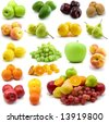 fresh fruits isolated on the white background - stock photo