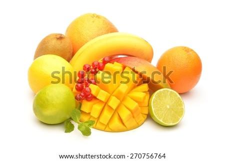 Fresh fruits isolated on white background - stock photo