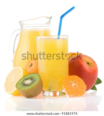 fresh fruits juice in glass and slices isolated on white background