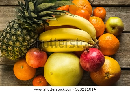 Fresh fruits.Mixed fruits background.Healthy eating, dieting, love fruits. - stock photo