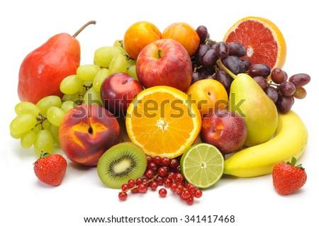 fresh fruits on table isolated over white background - stock photo