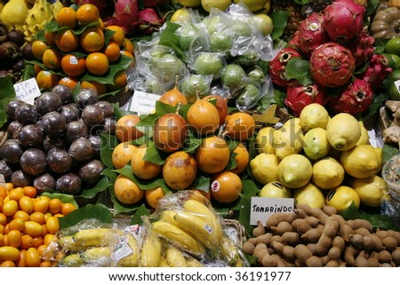 Fresh fruits on the Spanish market - stock photo