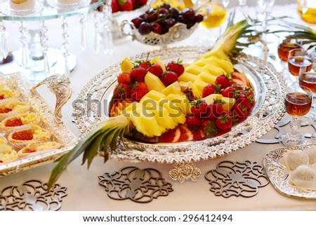 Fresh fruits on the tray - stock photo