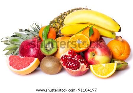 fresh fruits on white background - stock photo